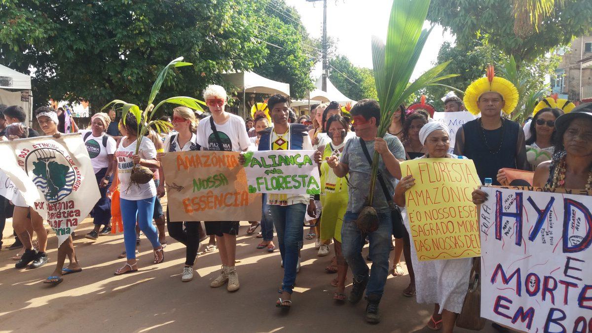 Amazônia Centro do Mundo – Caminhada passando pelo centro de Altamira (Pará) reuniu ativistas, indígenas, ribeirinhos, acadêmicos, cientistas, para plantar mudas de árvores em homenagem às vítimas do massacre no presídio  | Foto: Clara Glock